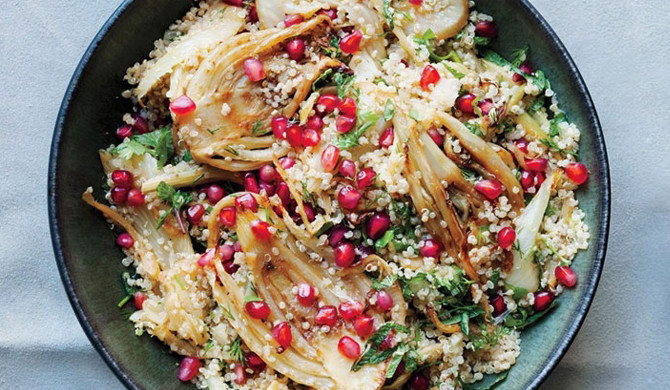 Fennel, quinoa and pomegranate warm salad