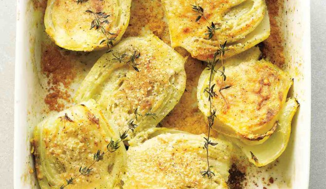 Finocchio al forno con parmigiano e timo